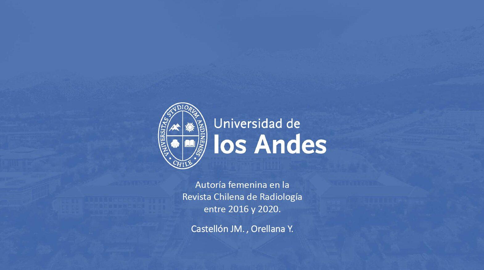 Autoría femenina en la Revista Chilena de Radiología entre 2016 y 2020.